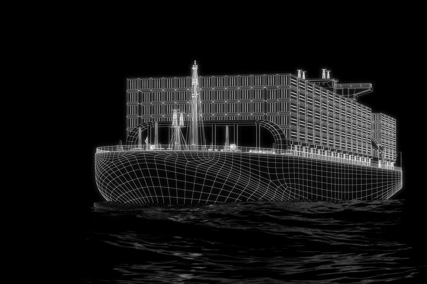 Container ship - 3d construction