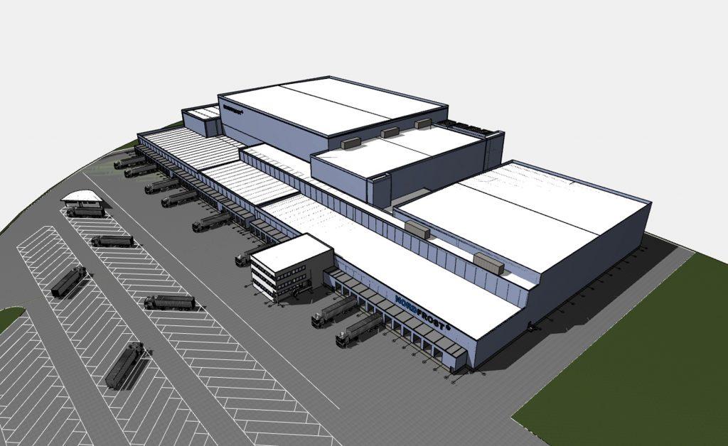 Perspektivische Ansicht des geplanten Neubaus in Herne – mit dem Logistikzentrum verstärkt Nordfrost seine Aktivitäten im Ruhrgebiet.