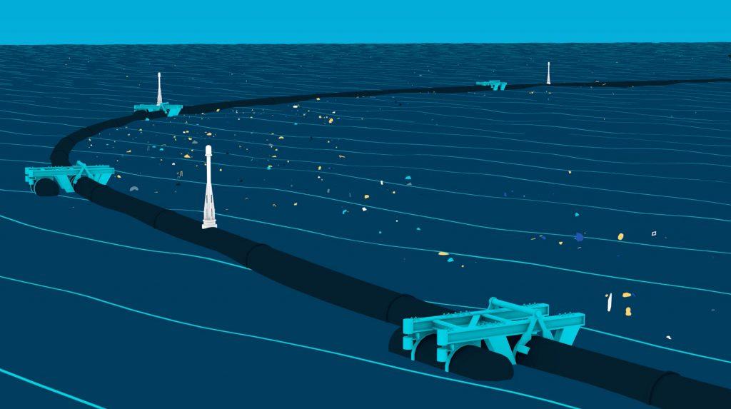 System 001 von The Ocean Cleanup: Eine Art Vorhang aus dicht gewebtem Plastik, der an dem Schwimmkörper angebracht ist, hängt drei Meter tief ins Meer. Die beiden Enden des Kunststoffrohrs sollen sich wie Fangarme um die Plastikteile legen – und das Meer von Plastikmüll befreien.