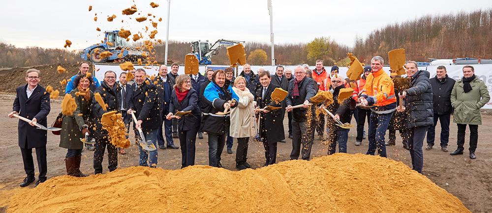 Der erste Spatenstich für das neue Nordfrost-Tiefkühllager in Herne erfolgte 28. November 2018.